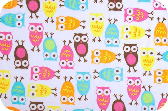Bright Pink & Aqua Owl Minky, Robert Kaufman Cuddle Night Owls in Carnival, 2 yards