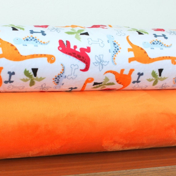 Red, Orange and Blue Dino Minky and Solid Orange Cuddle, 1 Yard Bundle, 2 Prints, 2 Yards Total