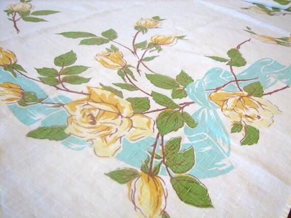 Yellow Rose and Aqua Ribbon Vintage Tablecloth