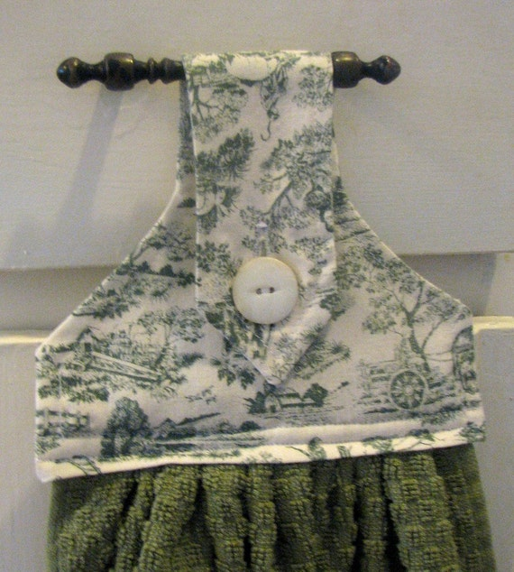 Green Toile Hanging Kitchen Towel
