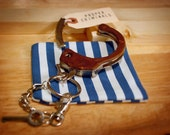 HANDCUFF key ring no. 024 - wrapped in Rd BROWN LEATHER - by proper criminals