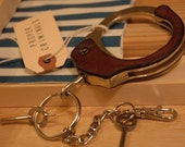 HANDCUFF Key Ring 014 - Wrapped in DRK BRN LEATHER - by PROPER CRIMINALS