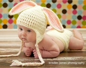 Priority shipping 1 to 3 days   Ready to Ship Crocheted Baby Easter Bunny Hat and Diaper Cover set w/attachable tail