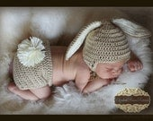 SUPER SALE Ready to ship  Crocheted Baby Tan Easter Bunny Hat and Diaper Cover set