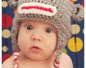 Crocheted Grey Baby Sock Monkey Hat