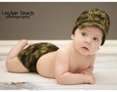 PATTERN for Crocheted Baby Camo Newsboy/Brim Hat and Diaper Set