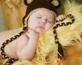 Crocheted Teddy Bear ears earflap hat