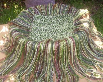 Crocheted Greens and brown Fringe  Photo Prop Only SUPER SOFT