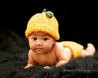 SALE Crocheted Baby Pumpkin Hat and Diaper Cover set