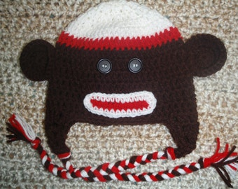 Crocheted Brown Sock Monkey  Earflap hat