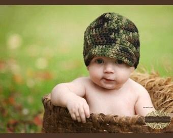 PATTERN for Crocheted Baby Camo Newsboy/Brim Hat