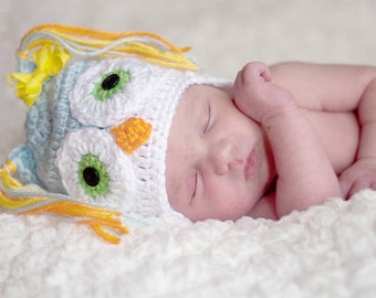 PDF Pattern Crocheted Baby Owl Earflap Hat with braids