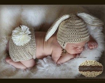 PDF PATTERN for Crocheted Baby Easter Bunny Hat and Diaper Cover set   Instructions for newborn to 12 months  Sell what you make