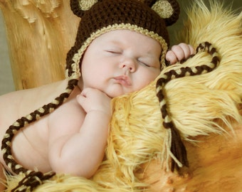 Crocheted Teddy Bear ears earflap hat