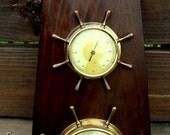 Nautical Dark Wood Vintage German Vintage Barometer