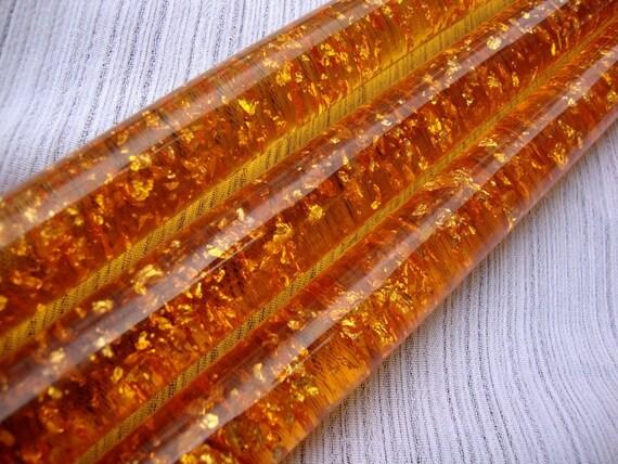 Mid Century Lucite Orange Candles Set of 3