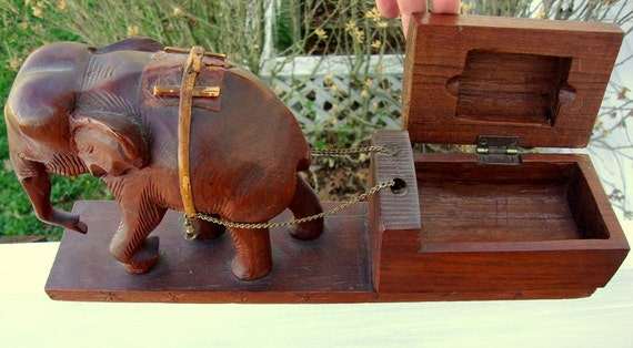 Vintage Wood Carved Elephant Dragging a Chest