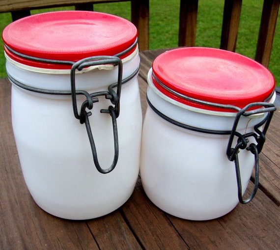 Vintage Milk Glass Kitschy Red Mason Jar Containers