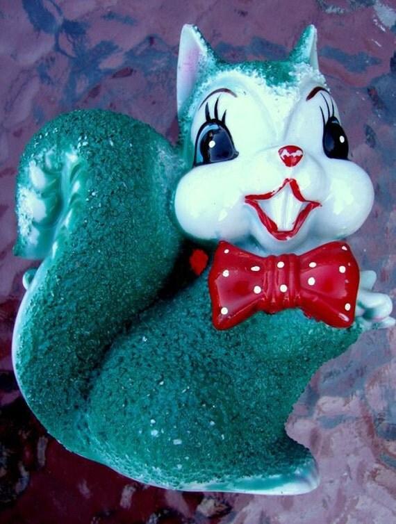 Vintage Green Kitschy Squirrel