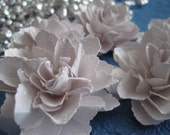Bright White Ice Gold Handmade Flowers with Glitter Accents  - Set of 5