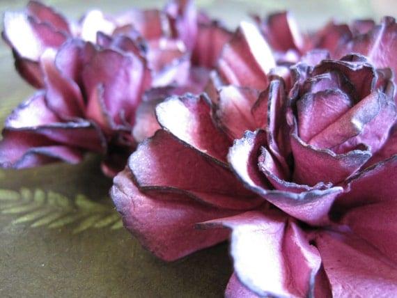 Handmade Cranberry Paper Flowers - Set of 4