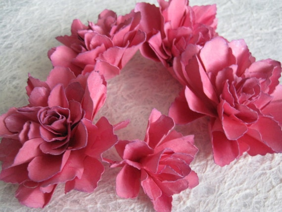 Handmade Confetti Pink Paper Flowers - Set of 5