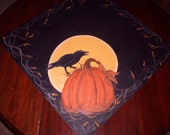 Pumpkin, crow and the Harvest Moon table square