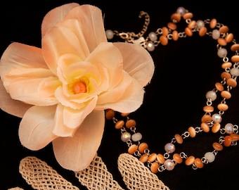 Peaches N Cream Blossom Necklace