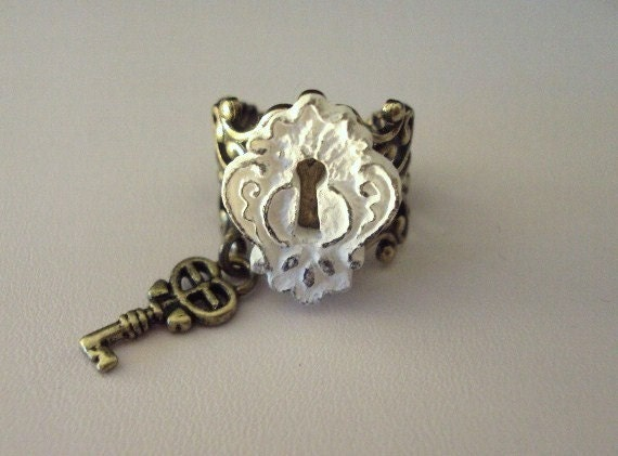 Under Lock And Key Charm Ring in Antique Brass- FREE SHIPPING