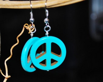 Turquoise Peace Sign Earrings Silver Boho Cottage Chic Dangle Pierced Peace Symbol Hippie Rocker