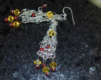 Silver, Red and Yellow Chandelier Earrings