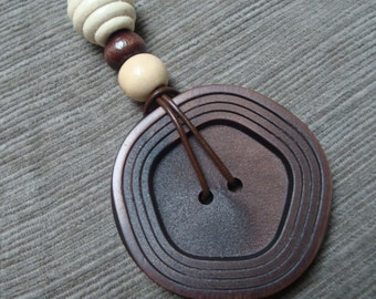 vintage up-cycled button pendant necklace - unique large coat button & vintage wooden beads recycled into a OOAK piece