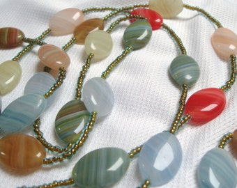 Czech glass hurricane bead flapper necklace and bracelet striped smooth pebble beads autumn fall colours