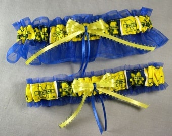 Michigan Wedding Garter Set, U of M Wolverines, Handmade, Can Be Personalized