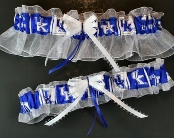 Kentucky Wildcats Wedding Garter Set, Handmade, Can Be Personalized