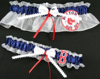 Boston Red Sox Wedding Garter Set, Handmade, Can Be Personalized