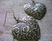 Lead and Nickel Free Antique Gold Brass Heart Earrings