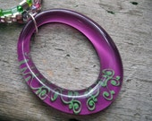 Purple and Green Necklace and Oval Pendant