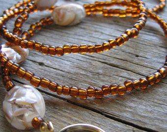 Copper Brown ID Badge Lanyard with Mother of Pearl Beads