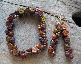 Fall Colored Earthy Flower Bracelet and Earrings