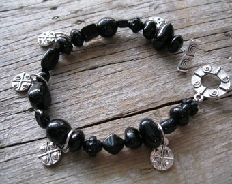 Black Charm Bracelet with Czech Beads and Hammered Charms
