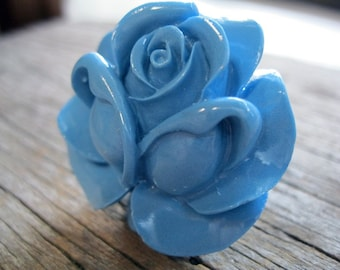 Sky Blue Rose Cocktail Fashion Ring