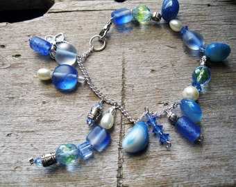 Sky Blue Charm Bracelet and Earrings
