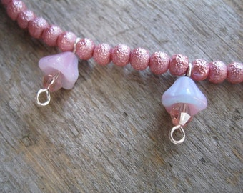 Blush Rose Pink Charm Bead Anklet