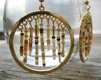 Gypsy Bohemian Gold Hoop Earrings