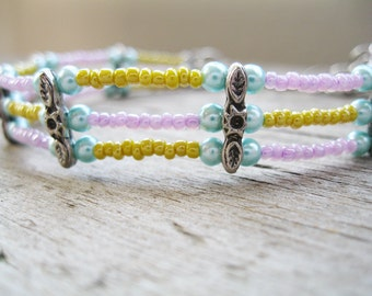 Sunny Yellow and Lavender Beaded Anklet