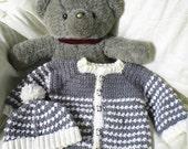 Crocheted Baby Boy Grey Sweater Set