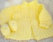 Newborn Girl's Yellow Crocheted Sweater &  Maryjanes 0 3 mo