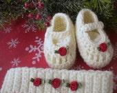 Crocheted Newborn Maryjanes, Headband Antique White  Red Silk Rose,Newborn 0 3 mo