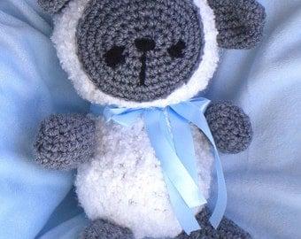 Crocheted Baby Lamb w Satin Ribbon